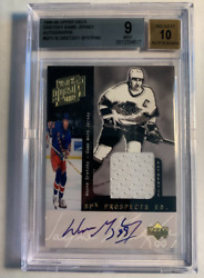 1998-99 Wayne Gretzky Autograph On Card Game Jersey Bgs 9 Mint Condition