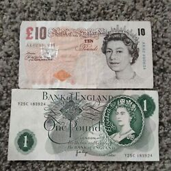 Bank Of England One Pound Note And 10 Pound Note Circulated