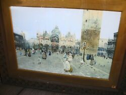 Museum Quality Large Venice Watercolor Signed And Dated 1892 St. Marks Cathedral
