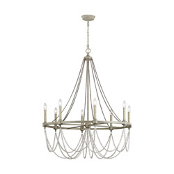 Candlestick Chandelier 8-light Washed Oak And Distressed White Wood Beaded Wagon