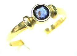 Vintage Womenand039s 14k Yellow Gold Natural Blue Sapphire Gemstone Ring Size 8 Mark