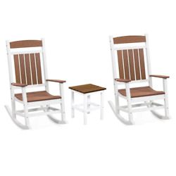 Rocker 3-piece Plastic Outdoor Chat Set Classic White And Antique Mahogany