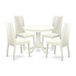 East West Furniture Antique Wood 5-piece Dining Set In White Finish Anip5-lwh-w
