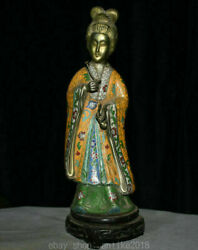 12 Old China Cloisonne Enamel Bronze Dynasty Palace Stand Beauty Woman Statue