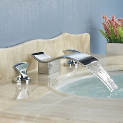 Bathroom Faucet 3 Hole Chrome Waterfall 2 Handle Brass Mixer Tub Tap Deck-mount
