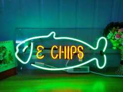 Fish And Chips Neon Sign Light Acrylic 17x10 Beer Bar With Dimmer Q223