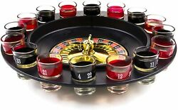 Shot Glass Roulette - Drinking Game Set 2 Balls And 16 Glasses Large, Black