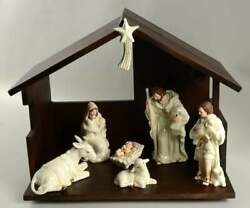 Belleek Pottery Ireland Classic Nativity 8 Pc Set With Stable - With Box 1