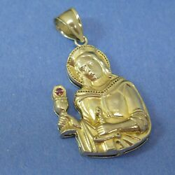 St Barbara Large Figural Pendant Chalice Sword 925 Sterling Silver Thunderstorms