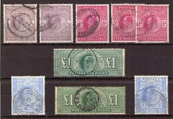 King Edward Vii High Values - Very Fine Used Selection - Both Printings 9.