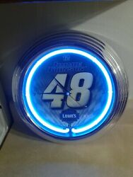 Jimmy Johnson 48 Team Lowe's Racing Neon Clock. Old Stock Vintage. About 14.5