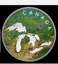 5 Oz. Pure Silver Coin - Great Lakes - Mintage 2,000 2021