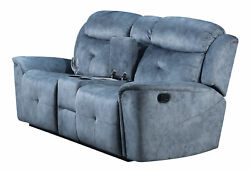 Acme Mariana Motion Loveseat With Console In Silver Blue Fabric Finish 55036