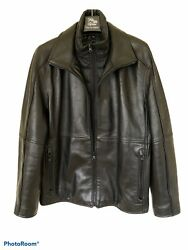 Marc New York Mens Black Leather Jacket. Removable Quilted Bib. Size Xl.