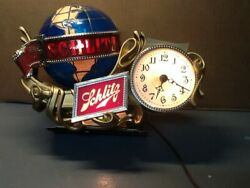 Schlitz Register Light W/revolving Globe And Clock Works Great Usual Sign Of Age