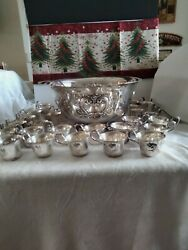 Webster Wilcox Silver Plated Punch Bowl, Ladle, 24 Cups .embossed Cartouches