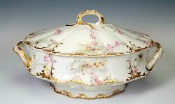 Theodore Haviland Limoges Pink Yellow Roses Gold Covered Vegetable Tureen Bowl