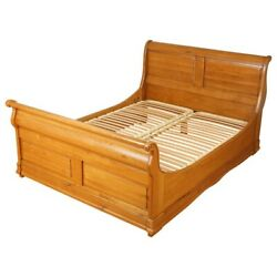 Vintage Waring And Gillow Oak Double Sleigh Bed Frame