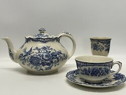 Crown Ducal Bristol Blue Teapot, Cup, Saucer And Egg Cup.
