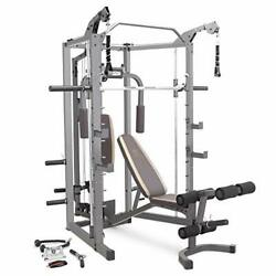 Marcy Smith Cage Machine With Workout Bench And Weight Bar Home Gym Equipment Sm
