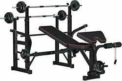 Reliancer Adjustable Multi Function Foldable Weight Bench And Fitness Barbell Ra