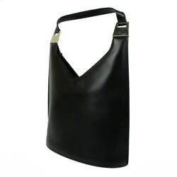 Auth Logos Leather One Shoulder Bag Black Italy F/s 20236b