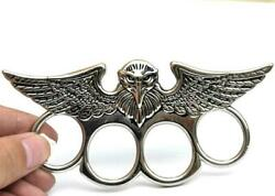 Solid Metal Menand039s Personalize Four Finger Eagle Face Ring 925 Silver Free Stud
