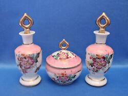 Vtg Antique Pink French Porcelain Perfume+powder Set Hand Painted Flowers Signed