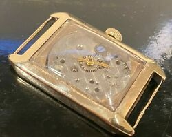 Vintage 1920s Mens Rolex 9k Solid Gold Rectangle Watch, 38mm No Dial For Pars