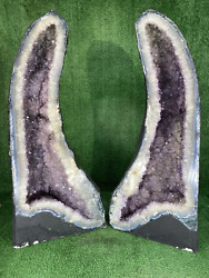 39.5 Pair Amethyst Cathedral Geode Cluster Crystal Quartz