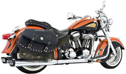 Duals Full Exhaust W/racing Chrome And Black Mufflers In00003 09-12 Indian Chief