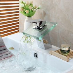 Fa Chrome Tempered Glass Waterfall Bathroom Faucet Mixer Deck Mounted Brass Tap
