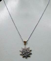 Victorian Antique Diamond 18 K Solid Gold Chain Pendant Necklace Jewelry