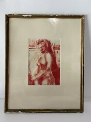 Vintage Modernist Painting Abstract Nude Woman Matted Framed Artist Donna Graver