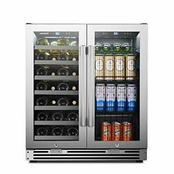 Lanbopro Stainless Steel Dual Zone Wine Beverage Combo Cooler 31 Bottles 58 Cans