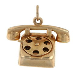 Rotary Telephone Charm - 14k Yellow Gold Hello I Love You Pendant Dial Moves