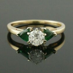 Retro Solid 14k Gold, .47 Ct Diamond And .60 Ctw Emerald Wedding, Engagement Ring