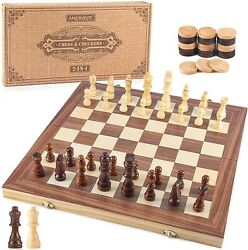 15 In Wooden Chess And Checkers Set 2 In 1 Board Games Folding Board 24 Cherker