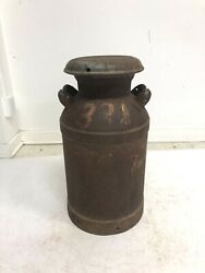 Vintage Milk Can W Lid Metal Rustic Dairy Container Jug Steel Country Farm Decor