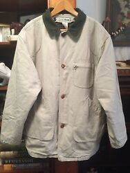 Ll Bean Menand039s Primaloft Flannel Lined Canvas Duck Work Barn Chore Coat - Size L