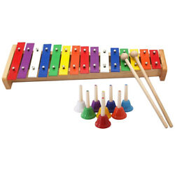 8-notes Chromatic Diatonic Handbells Set With 15-notes Xylophone Kids Gift
