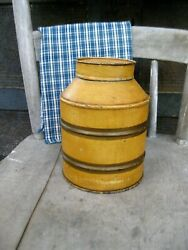 Early Antique Pantry Tin Canister Original Mustard Paint