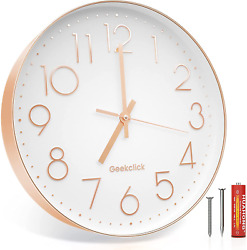 Geekclick 12quot; Wall Clock Battery Included Silent amp; Large Wall Clocks for Livi