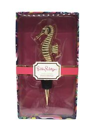 New Lilly Pulitzer Wine Stopper Gold Metal Seahorse Sea Horse Decorative Boxed