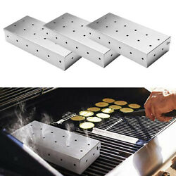 3pcs Stainless Steel Meat Smoking Barbecue Smoker Box For Bbq Wood Chips