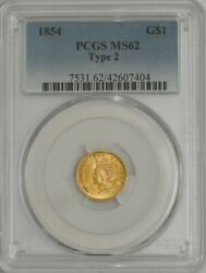 1856 Gold Indian Dollar Slanted 5 Ms65 Secure Pcgs 943981-30
