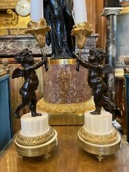 Antique French Candlesticks From 19th Century Bronze And Marble. Very Charming