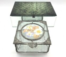 Vtg Jewellery Boxes - Cast Metal And Glass Floral Trinket And Fleur De Lis Mirrored