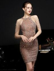 Sexy Evening Women Dresses Off Shoulder Gold Sequined Beads Straight Knee Length