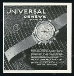 1947 Universal Geneve Business Man's Chronograph 3 Dial Watch Vintage Print Ad